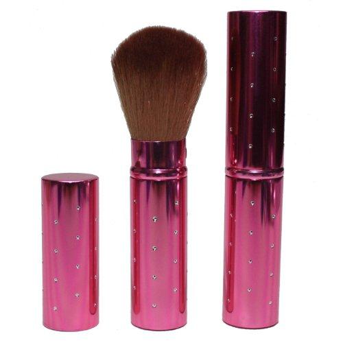 Hot Off The Press Pinceau à maquillage de voyage ultra doux rétractable à poils synthétiques pour utiliser avec un produit bronzeur, de la poudre (rose)