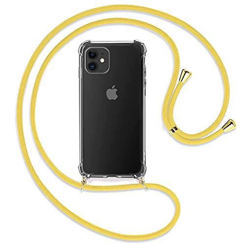 """TBOC Funda para iPhone 11 [6.1""""] - Carcasa Transparente con Cuerda [Amarilla] para Móvil Cordón Ajustable Práctico Collar de Moda Cadena para Cuello Resistente Arañazos"""