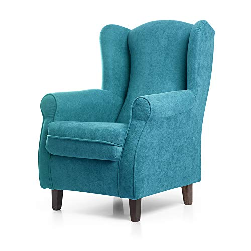 SUENOSZZZ-ESPECIALISTAS DEL DESCANSO Sillon Relax, Sillon orejero para Lactancia Irene. Tapiceria Antimanchas acualine Color Turquesa. Butaca para Dormitorio, Salon o habitacion de Bebe