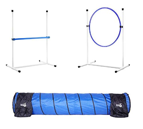 Better Sporting Dogs 3 Piece Essential Dog Agility Equipment Set | Agility Jump | Tire Jump | 10' Tunnel with Sandbags