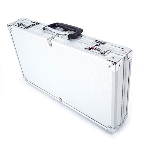 "Portable Aluminum Hard Case Tool Box 17"" Lx 25"" Wx 7.5"" H Large White Men's Briefcase Aluminum Hard Case Metal Carrying Case (US Warehouse)"