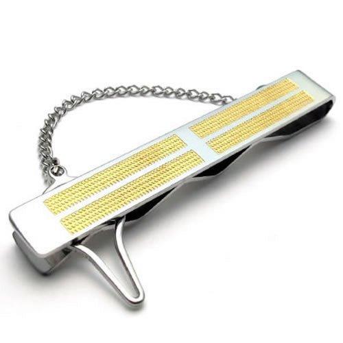 KONOV Pince À Cravate Homme - Croix - Haute Qualité - Acier Inoxydable - Mariage - pour Homme - Couleur Or Argent - Avec Sac Cadeau - F22019