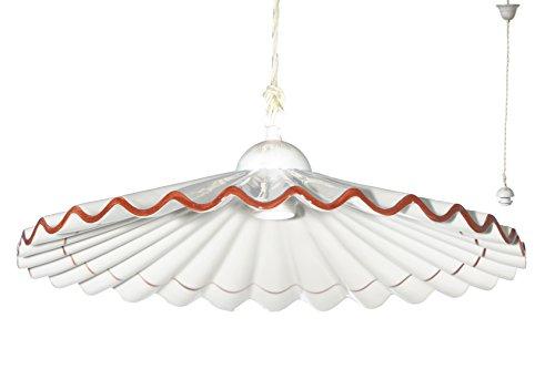 VANNI LAMPADARI - Lampada A Sospensione Piatto Plisse Diametro 40 In Ceramica Decorata A Mano Disponibile In 5 Finiture