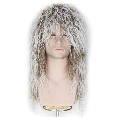 Miss U Hair Men 70s 80s Themed Party Halloween Costume Cosplay Wig Long Curly Hair Punk Heavy Metal Rocker Wig Brown Gradient White