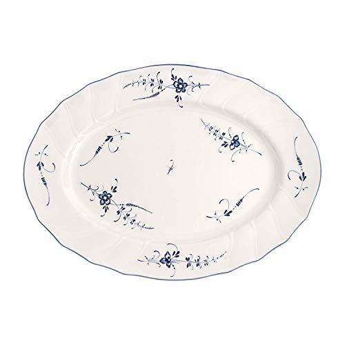 Villeroy & Boch Vieux Luxembourg Ovale Servierplatte, 43 cm, Premium Porzellan, Weiß/Blau, Porcelain