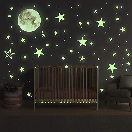 Leuchtsticker Wandtattoo, Sternenhimmel Leuchtsterne selbstklebend, HOSPAOP Mond Wanddeko Aufkleber,fluoreszierende Leuchtsterne Punkten für Kinderzimmer, Baby, Kinder oder Schlafzimmer