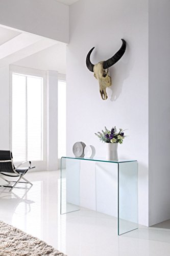 Crystal Modern Bent Curved Clear Glass Console Table (Large) - (110cm x...