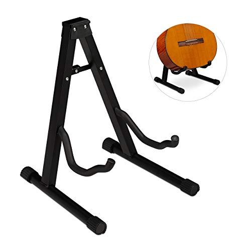 Relaxdays Gitarrenständer, Akustik-& E-Gitarre, faltbar, Schaumstoffbezug, Gummifüße, stabil, HBT 37x29x30 cm, schwarz, 1 Stück