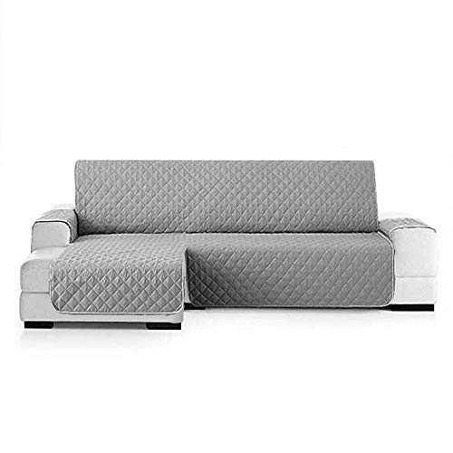 SearchI Fundas de Sofa Chaise Longue Izquierdo 240cm Impermeable,Protector Su Muebles Chairse Longue Cubierta para Sofás Acolchado Reversible Cubre de Sofa Antideslizante Gris(Visto de Frente)