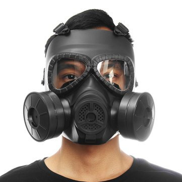 Generic Breathable Gas Mask Double Filter Fan Cs Edition Perspiration Dust Face Guard