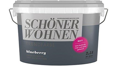 SCHÖNER WOHNEN FARBE Wand- und Deckenfarbe Trendfarbe Blueberry, matt, 2,5 l