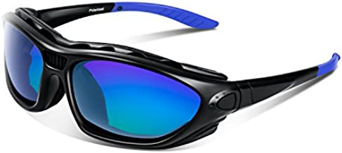 Polarized Sports Sunglasses for Men Women Youth Motorcycle Safety Driving Riding Military Goggles TAC Glasses (Black Blue)
