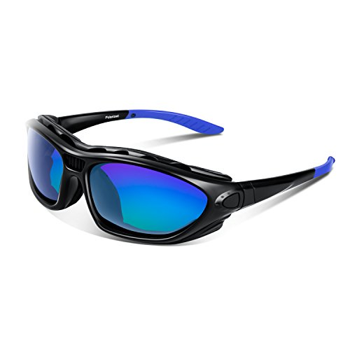 Polarized Sports Sunglasses for Men Women Youth Motorcycle Safety Driving Riding Military Goggles TAC Glasses (Black Blue new)