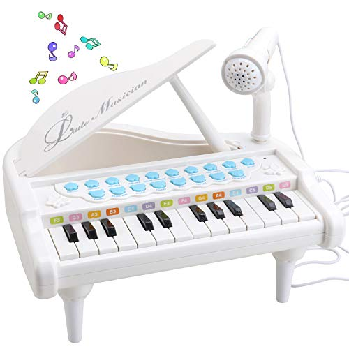 Amy & Benton Piano Keyboard Toy for Kids, 24 Keys White Toy Piano...