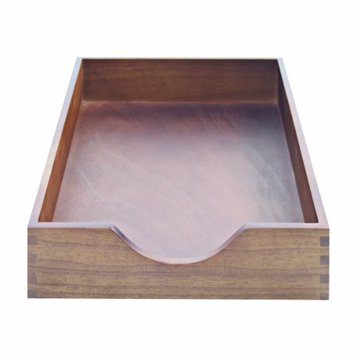 Carver Hardwood Stackable Desk Tray Legal Size 1625 x 11 x 275 Inches Walnut Finish CW07222
