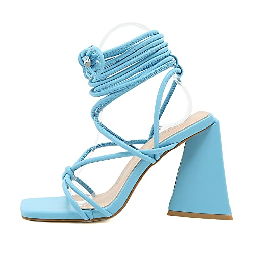Yolkomo Women's Square Toe Lace Up Chunky Heels Open Toe Gladiator Heels Lace Up Ankle Strappy High Heels Sandals Blue Size 8