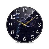 Acuario signo del zodiaco y constelación acrílico pintado silencioso sin garrapatas, 12 pulgadas funciona con pilas, reloj de baño silencioso para sala de estar, dormitorio, cocina, oficina decoración