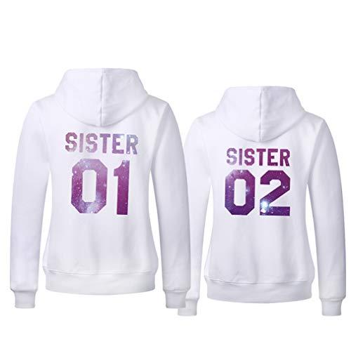 Couple Camp Damen Hoodie Pullover BFF Best Friends Sister (Weiß-Sky, 01-M+02-S)