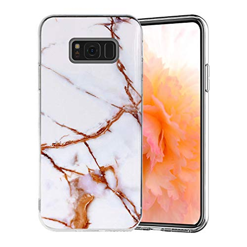 Misstars Coque en Silicone pour Galaxy S8 Plus Marbre, Ultra Mince TPU Souple Flexible Housse Etui de Protection Anti-Choc Anti-Rayures pour Samsung Galaxy S8 Plus, Blanc Or