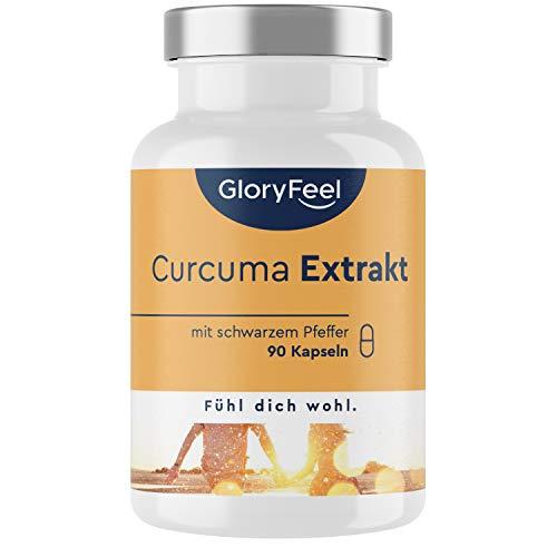 Curcuma Extrakt + Bio Curcuma - 90 Kapseln - Curcumin-Gehalt EINER Kapsel entspricht ca. 11.100mg Kurkuma - 95{c365dd3e0a8821be545490284764d00cc8242c6055894ebb137cccac5eae44fa} Extrakt Hochodosiert - Laborgeprüft, vegan ohne Zusätze hergestellt in Deutschland
