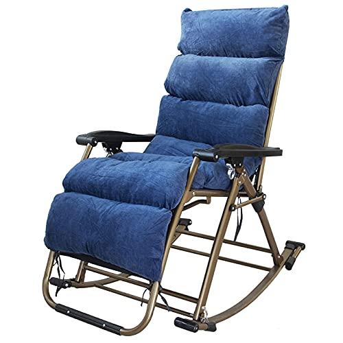 Sedie a Dondolo gravità Zero Sedia a Dondolo per Interni All'aperto, Extra Grande Lounge Rocker Chair con Cuscino, Casa Ufficio Poltrona Reclinabile per Adulti/Incinta/Anziani (Color : Blue)