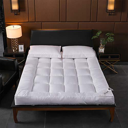 Tensism ColchóN De AlgodóN Engrosado De 10 Cm De PlumóN, ColchóN Plegable, ColchóN para Dormir Antideslizante Que Absorbe La Humedad