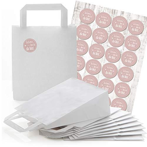 24 weiße Papiertüten Papier-Tragetaschen Henkel-Tüten Boden 18 x 8 x 22 cm kleine Papiertaschen und 24 runde Aufkleber SCHÖN DASS DU DA BIST rosa rose pink Verpackung Geschenke