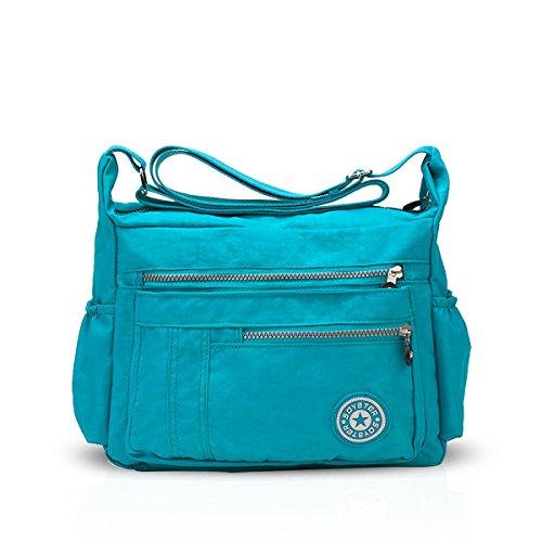 NICOLE&DORIS Moda Donne Messenger Bag Borsa a Tracolla Crossbody Impermeabile Nylon Azzurro