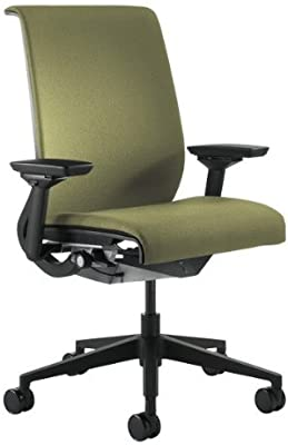 Steelcase Think Office Stool with Upholstered Back - Celery with Platinum Base