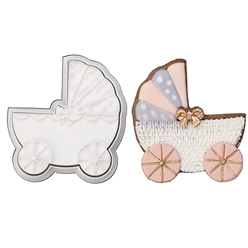 Mostop 3D Cookie Cutter with Baby Carriage Stampers Baby Shower Cake Mold Fondant Decorating Tools DIY Mold for Sugar Craft Baking Mould Kids' Birthday Party Kitchen Tools