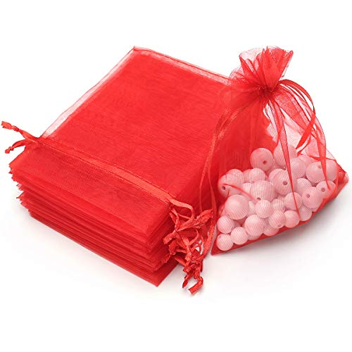 100pcs 3.6x4.8(9x12cm) Organza Gift Bags, Drawstring Pouches Jewelry Party Wedding Favor Gift Bags,Candy Bags. (Red)