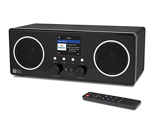 "Ocean Digital WiFi/DAB/FM Internet Stereo Radio WR280S with Bluetooth Receiver, Remote APP Control, Aux in, Line Out, UPnP/DLNA, Wooden Casing, 2.8"" Color Display"