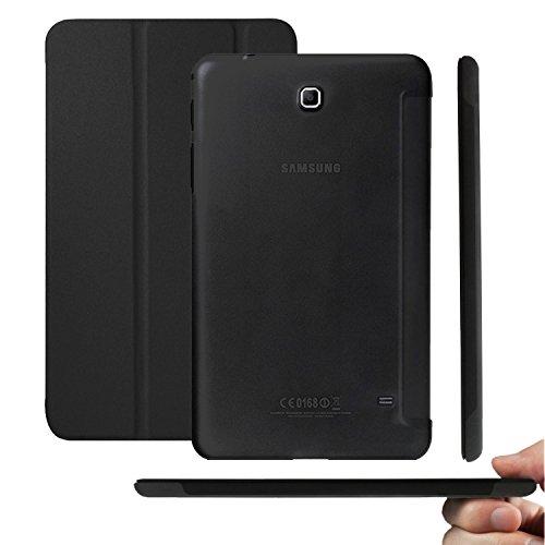 KHOMO Funda Negra Galaxy Tab4 7.0 Ultra Ligera y Delgada con Smart Cover y Soporte para la Nueva Tablet Samsung Galaxy Tab 4 7.0'