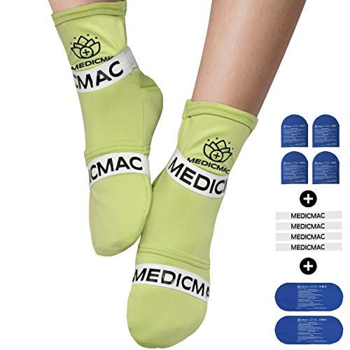 MEDICMAC Socken für Heiß- und Kalttherapie mit austauschbaren Gel Packs und Kompressionsriemen – Wohltuende Linderung für Neuropathie, Gicht, Fußschmerzen und Verstauchungen (für alle Größen)