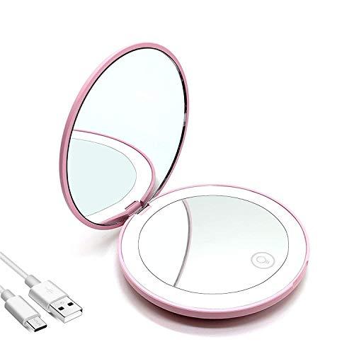 Espejo de Bolsillo,Carga USB LED Portátil Plegable Espejo Cosmético,Espejo de Mano,Espejo Aumento con Doble Cara 10x / 1x para Maquillaje,Espejos Pequeños para Viaje