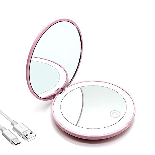 LED specchio compatto ricaricabile specchietto da borsetta specchio viaggio specchio tascabile specchio con ingrandimento 1X/10X sspecchietto da borsa con luce regolabile specchio regali