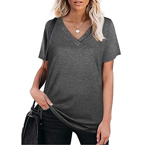 Mayntop Camiseta de verano para mujer, de manga corta, color liso, ajuste holgado, con cuello en V, A, gris oscuro, 38