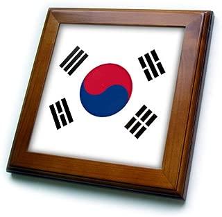 3dRose ft_158435_1 Flag of South Korea Korean White Red Blue Taegeuk Circle Black Trigrams Taiji Yinyang Taegeukgi Framed Tile, 8 by 8