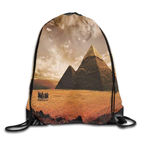 uykjuykj Sac à Dos avec Cordon de Serrage, Motif Pyramide égyptien pour Gym, randonnée, Voyage Couleur 04 Léger Unique 43 x 35 cm