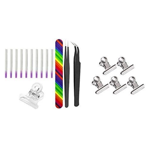 F Fityle Quick Nail Extend Puntas de Uñas de Fibra de Vidrio con Pinzas para Pellizcar Uñas Kit de Pinzas