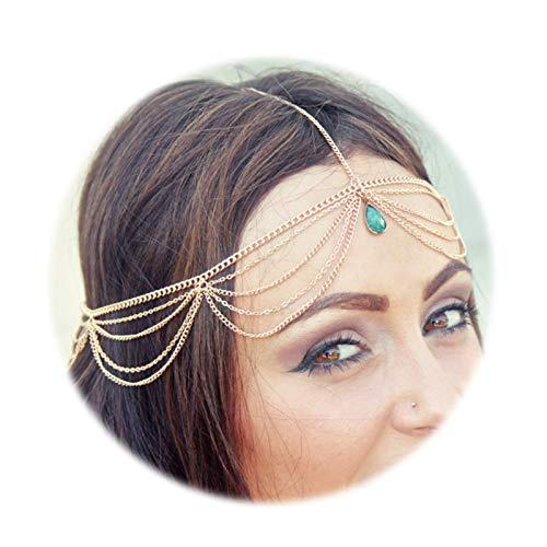 KnSam Haarschmuck Indisch Haarkette Hochzeit Kopfkette Haarschmuck Träne Silber Haarkette Kopfschmuck