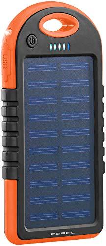 PEARL Solar Ladegerät Handy: Solar-Powerbank mit Taschenlampe, 3.000 mAh, 2X USB, 1 A, IPX4 (Portable Powerbank)