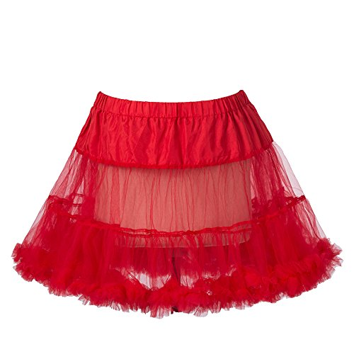 "Boolavard 18""50s Retro Tutú Petticoat Underskirt Enagua Negro, Blanco, Rojo, Rosa, Azul (S-M, Rojo)"