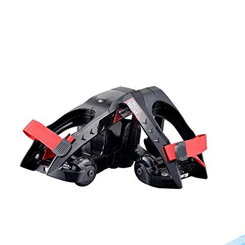 SSCYHT Elektrische Schlittschuhe, elektrisches Rollschuh-Hoverboard mit LED-Lichtern, Größe einstellbar, 120 W Motor, hohe Geschwindigkeit 9 km/h - 2,8 Meilen Reichweite,Schwarz