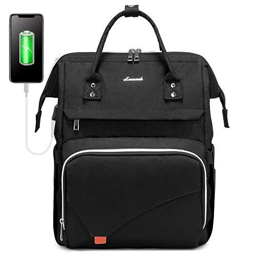 LOVEVOOK Rucksack Damen groß wasserdichte Laptop Rucksack Schultasche 15,6 Zoll Tagesrucksack mit Laptopfach und Anti-Diebstahl Tasche, für Universität Reisen Herren, Schwarz