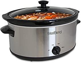 West Bend Ceramic Cooking Vessel and Glass Lid, 6-Quart, Silver