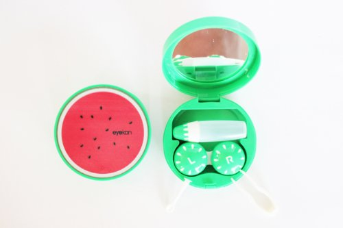 Kontaktlinsenbehälter Aufbewahrungsbehälter Etui Set Spiegel Früchte Obste NEU (Wassermelone)