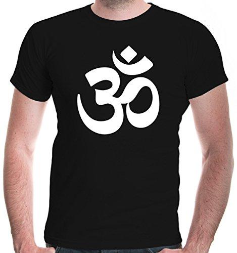buXsbaum® Herren T-Shirt Om Zeichen | Indien Meditation Hinduismus Aum | S, Schwarz