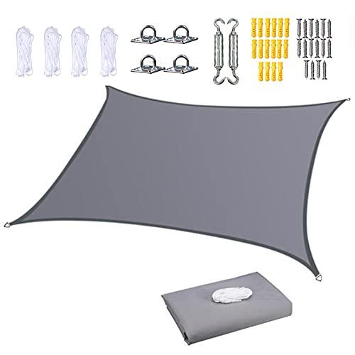 LDIW Tenda a Vela Rettangolare Parasole, Impermeabile Protezione Raggi UV Vela Ombreggiante Tende da Sole per Esterno Terrazzo Balcone Giardino Piscina, con Free Rope e Kit di Fissaggio,Grigio,4X8M