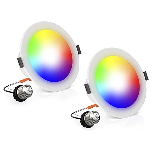 OYOCO 2 Pack LED Smart Retrofit Recessed Downlight Color Changing and Dimmable 10W(100 Watt Equivalent)4-Inch Works with Amazon Alexa and Google Assistant (2 Pack Adjustable 16 Million Colors)